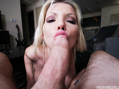Slutty blonde MILF Barbie Sins craves for a huge cock