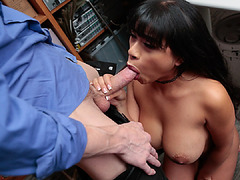 Aryana's shaved pussy pounded hardcore by officer Ryan's hard meat