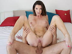 Busty milf stepmom throats and fucked by stepson big dick