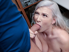 Bleached big tittied suspect Emily gets her pink pussy banged by a horny officer