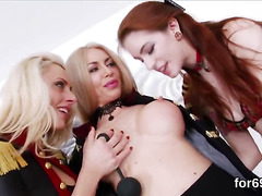 Lesbo hotties open up their intense assholes and poke big fuck toys