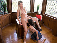 Brunette babe licks blonde principals pussy to enroll