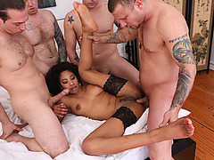 Sexy black babe gets her tight ass stretched by 4 white cocks