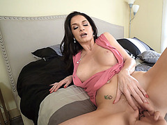 Horny MILF stepmom taught her young boy how with womans