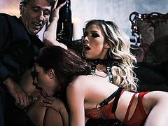 Horny vixens took turns sucking Steves cock