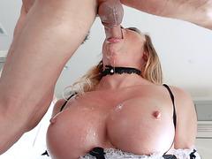 Mia Lelani gives a sloppy blowjob to her cruel master