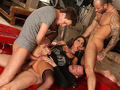 Busty slut babe gets her tight ass fucked by three big cocks