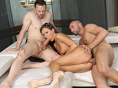 Busty babe toyed and analed by her husband and his friend