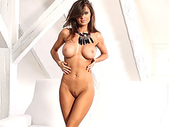 Two busty European models strip naked and showing off