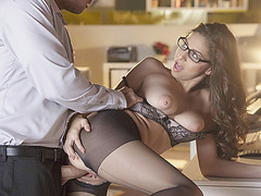 Hot babe Nina gets pleasured by her officemate dick.
