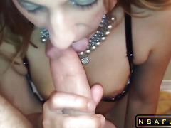 Submissive slut sucks hard dick and licks ass