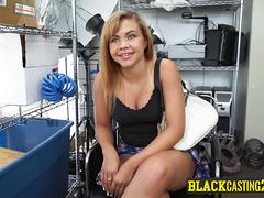 BUSTY perv chokes on BIG BLACK SHLONG casting for PORN