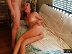 Slutty horny wife fucks a friend for hubby