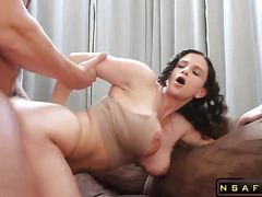 Huge Tits curly haired babe fucks hard big cock part 1