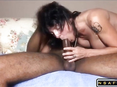 Mature wife takes BBC deep in her ass