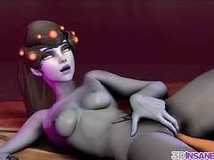 Dva and Widowmaker fucked by huge cocks