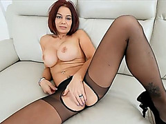 Spicy Stepmom in pantyhose gets fucked hard and rough