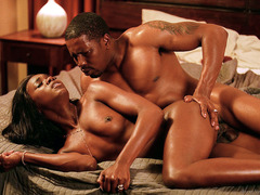 Ebony babe Anna Foxxx slams by a monster dick