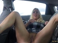 Hot milf feels bored and decides to finger fuck herself outdoors