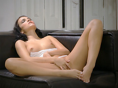 Horny petite babe enjoyed in solo fingering action