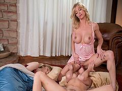 Natalie stifles a gasp when Serene begins to rub her pussy