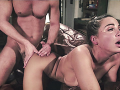 Abigail spread eagle for both men to fucked