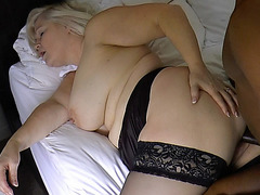 White haired Lacey got a warm load in her mouth