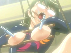 Roped hentai with clothespins on her tounge gets brutally pumped