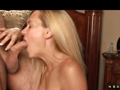 Sweet blonde milf sucking till massive facial