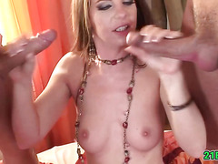Vixen in sensual lingerie getting ass fucked in 3some