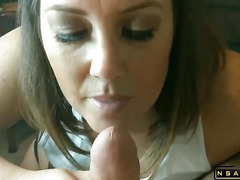BJ and Cum in Mouth for HOT Brunette MILF