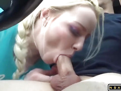 Blowjob with cum in mouth while driving hes car