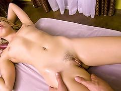 POV blowjob massage with hot blonde client