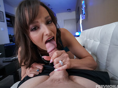 Alluring MILF gives stepson a birthday blowjob