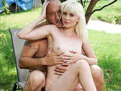 Blonde Cutie Hops on grandpa style dick