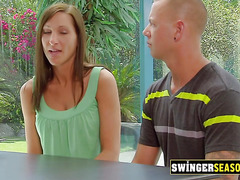 Swinger hot babes explore their bodies and tits touching