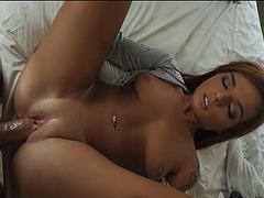 Scarlett pussy gliding over her stepbros hard dick