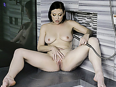 MYLF - Natural Milf Plays With Her Big Tits In The Shower