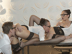 Hot babes Aida Fox and Ariana Marie share a big fat cock in one shot