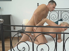 Mature Franny takes a face load of tasty cum of John