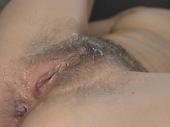 John stuff Viol's bushy pussy and pounded it and cums