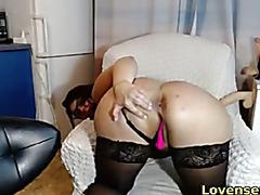 chubby babe having fun with her lush