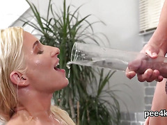 Exquisite model gets her narrow vagina complete of warm piss and blasts