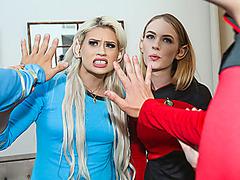 DaughterSwap - Blonde Cosplay Teens Get Fucked Hard By Dad Dick