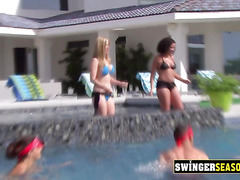 These hot swinger wifes love to kiss each other in front of their sexy husbands.