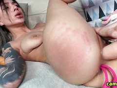 Sexy Tattoo Babe Pounds Her Big Pussy