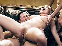 Busty stepmom sucks and anal reamed by her hubby and stepson