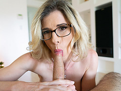 Emily sucks stepsons cock the way he wants it