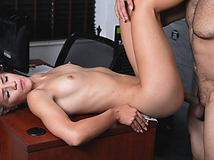Derek bend over Scarlett on the table to fuck from behind