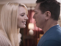 Step daddy John Strong almost caught by his step daughter Kenna James